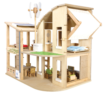 GREEN DOLL HOUSE WITH FURNITURE picture