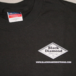 Black t-shirt with logo over left breast picture