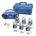 Lecteur multimédia CD/FM/Bluetooth Hamilton™ - 6 postes + casques d'écoute de luxe et mallette de transport en plastique PCL