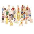 Ensembles de figurines en bois Wedgies™ - Ensemble d'une famille multiculturelle - Ensemble de 28