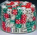 Ensemble de 144 dés dans un contenant cylindrique