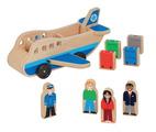 Pièces de jeu imaginatif Melissa & Doug® Whittle World™ - Avion avec 4 figurines et 4 valises de couleurs assorties.