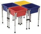 Tables de jeux d'eau et de sable ECR4Kids - Table carrée formée de 4 postes - l 76,2 x P 76,2 x H 50