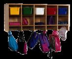 Casier mural 10 compartiments avec bacs de couleur Childcraft®