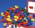 Jetons mathématiques à compter - Animaux de la ferme - 6 formes, 6 couleurs (ens.-72)