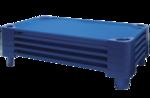 Lit de camp bleu empilable ECR4Kids® pour enfants - Grandeur standard - L 1,32 m x l 58,4 cm x H 15 cm - Assemblés (pqt-5)