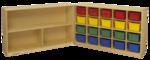 Unité de rangement mobile Childcraft - Doté de 20 bacs de couleurs variées.