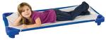 Lit de camp bleu empilable ECR4Kids® pour enfants - Grandeur standard - L 1,32 m x l 58,4 cm x H 15 cm - Prêts à assembler, avec draps (pqt-6)