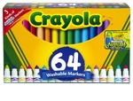 Ensemble de marqueurs Ultra-Clean Washable™ Crayola® - Pointe conique - Assortiment - Ensemble de 64