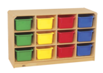 Casier mobile Korners for Kids® de 12 compartiments pour tout-petits avec bacs de couleurs assorties