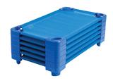Lit de camp bleu empilable ECR4Kids® pour enfants - Grandeur standard - L 1,32 m x l 58,4 cm x H 15 cm - Prêts à assembler (pqt-6)