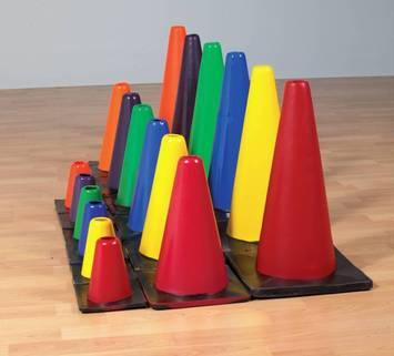 Cônes classiques en couleur - H 15,2cm (ens.-6) Image