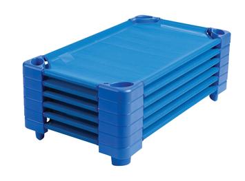 Lit de camp bleu empilable ECR4Kids® pour enfants - Grandeur standard - L 1,32 m x l 58,4 cm x H 15 cm - Prêts à assembler (pqt-6) Image