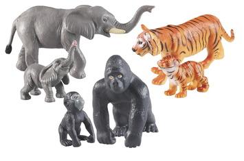 Ensembles d'animaux mamans et bébés - Animaux de la jungle - Ensemble de 6 Image
