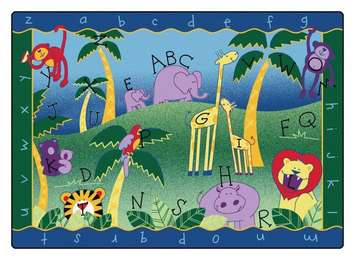 Tapis Jungle alphabétique de Carpets for Kids - 1,3 m x 1,8 m (Rectangulaire) Image