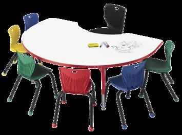 Tables pour activités Classroom Select® avec tableau blanc - Bordure moulée en T - 122 cm x 183 cm (Haricot) Image