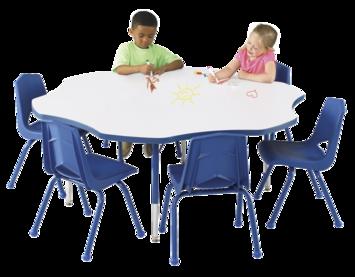 Tables pour activités Classroom Select® avec tableau blanc - Bordure moulée en T - 152 cm (Fleur) Image