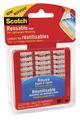 Languettes et bandes réutilisables Scotch® - Transparentes - 25,4 x 25,4 mm (pqt-18)
