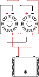 Two Dual Voice Coil Speakers in Parallel / Parallel