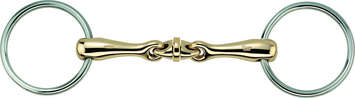 "WH-ULTRA LOOSE RING SNAFFLE, DOUBLE JOINTED AURIGAN 16MM W. 70MM ST.ST. RINGS - 4 3/4"" picture"
