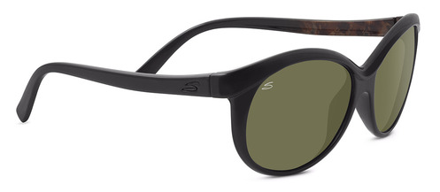 Caterina Shiny Black/Brown Wood Polarized Drivers picture