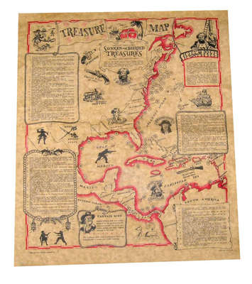 Historic Treasure Map Replica Parchment picture