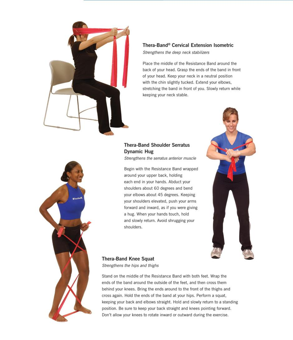 Thera-Band Resistance Band Exercises - Cervical Extension Isometric, Shoulder Serratus Dynamic Hug, Knee Squat