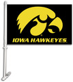 Iowa Hawkeyes   Car Flag W/Wall Brackett
