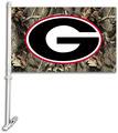 Georgia Bulldogs Car Flag W/Wall Brackett - Realtree Camo Background