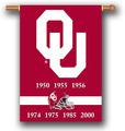 "Oklahoma Sooners2-Sided 28"" X 40"" Banner W/ Pole Sleeve Champ Years"