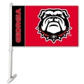 Georgia Bulldogs Car Flag W/Wall Brackett