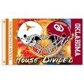 Oklahoma - Texas 3 Ft. X 5 Ft. Flag W/Grommets - Helmet House Divided