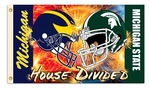 Michigan - Michigan St. House Divided Helmet Design 3 Ft. X 5 Ft. Flag W/Grommets