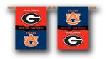 """Georgia - Auburn House Divided 2-Sided 28"""" X 40"""" Banner W/ Pole Sleeve"""