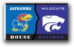 Kansas - Kansas St. 3 Ft. X 5 Ft. Flag W/Grommets - Rivalry House Divided