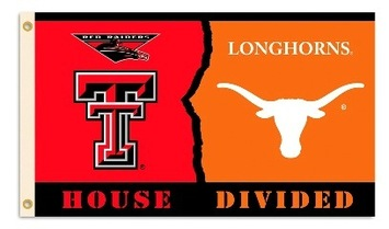 Texas Tech - Texas 3 Ft. X 5 Ft. Flag W/Grommets - Rivalry House Divided picture