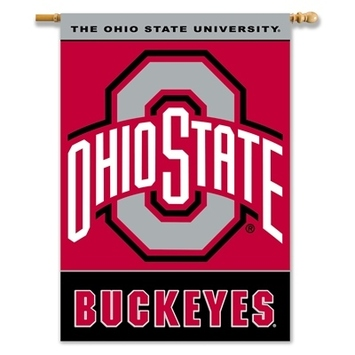 "Ohio State Buckeyes 2-Sided 28"" X 40"" Banner W/ Pole Sleeve picture"