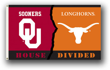 Oklahoma - Texas 3 Ft. X 5 Ft. Flag W/Grommets - Rivalry House Divided picture