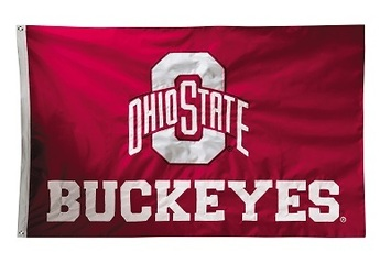 Ohio State Buckeyes 2-sided Nylon Applique 3 Ft x 5 Ft Flag w/ grommets picture