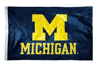 Michigan Wolverines 2-sided Nylon Applique 3 Ft x 5 Ft Flag w/ grommets picture