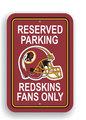 Washington Redskins Plastic Parking Sign - Reserved Parking