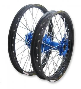 Wheel Set, Billet Blue Hub, Black Rim, (DID or Excel) Blue Spoke Nipples. (19 Rear, 21 Front) picture